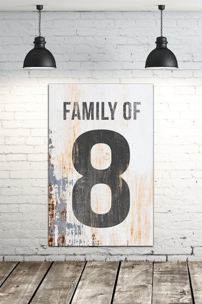 Family of 8 Number Sign - White Vintage Sign Canvas Print