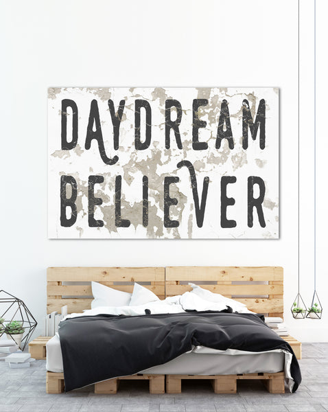 White Daydream Believer Large Canvas Wall Art