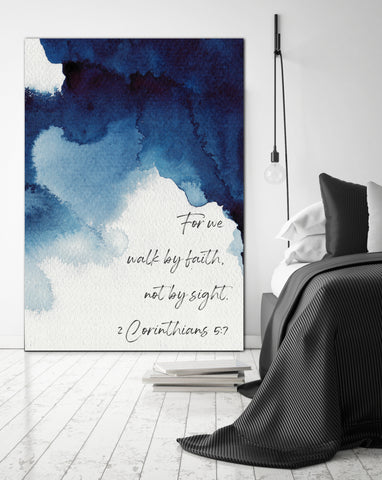 Walk By Faith Blue Watercolor Inspirational Canvas Modern Wall Art