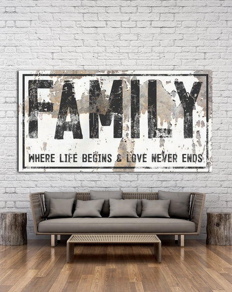 Family Sign -  Where Life Begins Farmhouse Wall Art - Modern Farmhouse Home Decor Wall Art - Chippy Sign