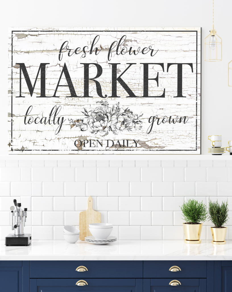 Fresh Flower Market Vintage Sign - Farmhouse Decor Canvas Art Wall Decor Vintage Signs