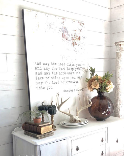 May the Lord Bless You  Inspirational Quote Modern Farmhouse Wall Decor Sign