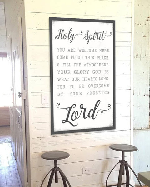 Holy Spirit Lead Me - Wall Art Farmhouse Decor Scripture Canvas Print