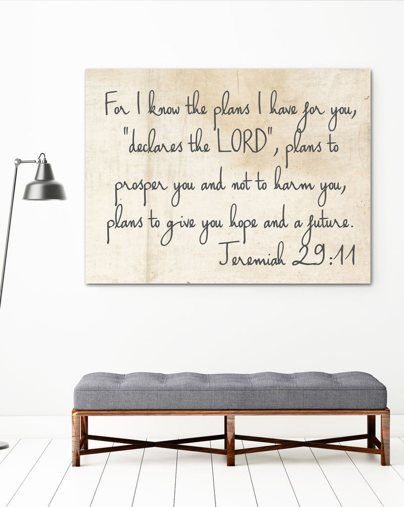 Jeremiah 29:11  Farmhouse Decor Wall Art - I know the plans I have for you