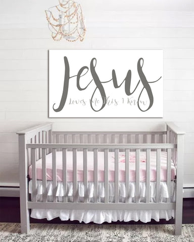 Jesus Loves Me Baby Room Art - Nursery Wall Art Baby Art Canvas Inspirational Decor