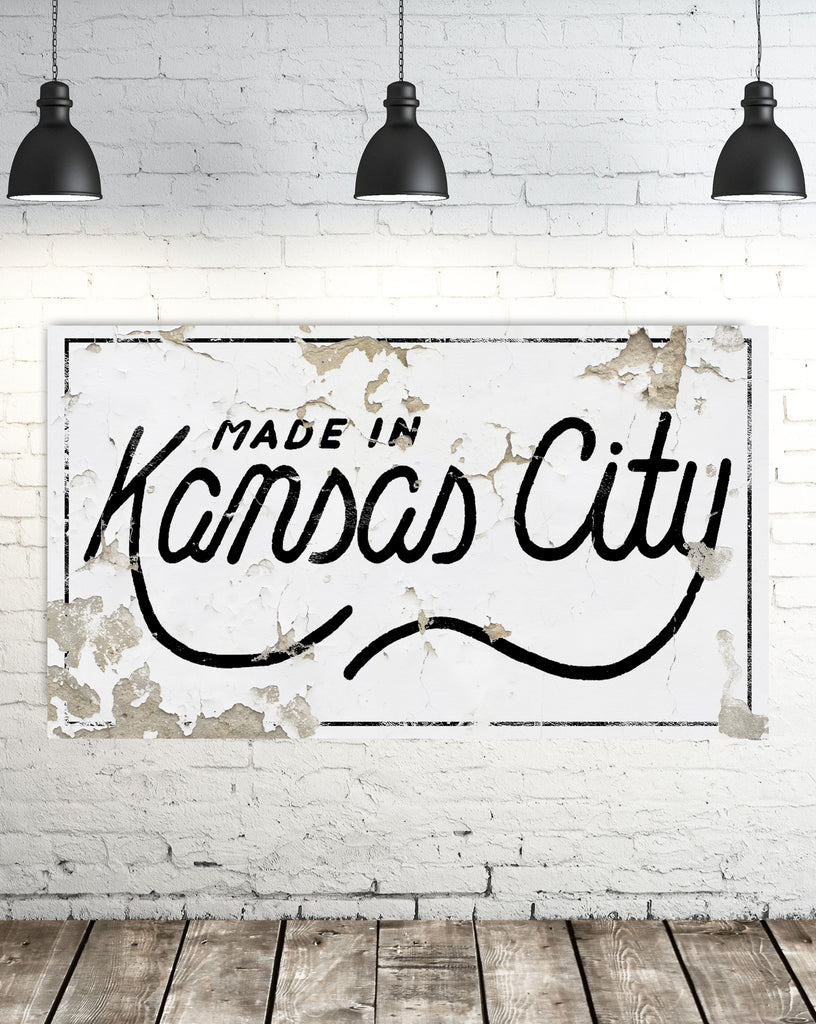 Made in the Kansas City - Modern Farmhouse Home Decor Wall Art - Chippy Sign