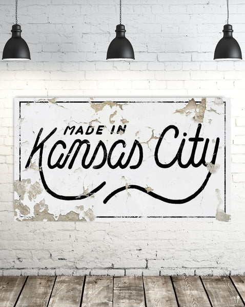 Made in the Kansas City - Farmhouse Decor Canvas Wall Decor Vintage Sign