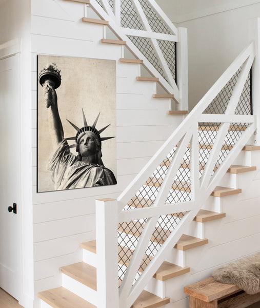 Statue Of Liberty Vintage Farmhouse Canvas Wall Art