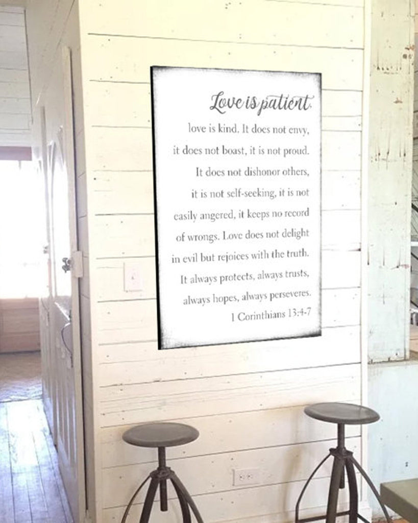 Top Love is Patient Love is Kind Wall Art - Farmhouse Sign – Walls of  IE73