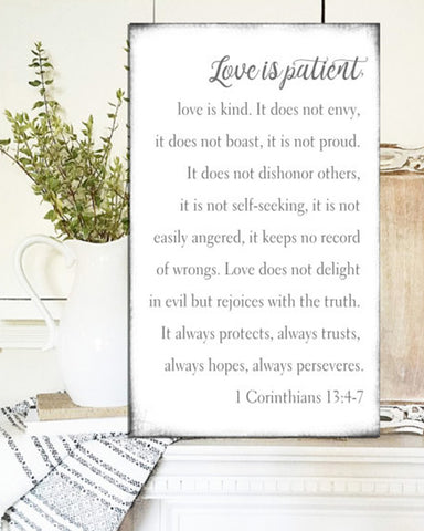 Love is Patient Love is Kind Wall Art - Farmhouse Sign