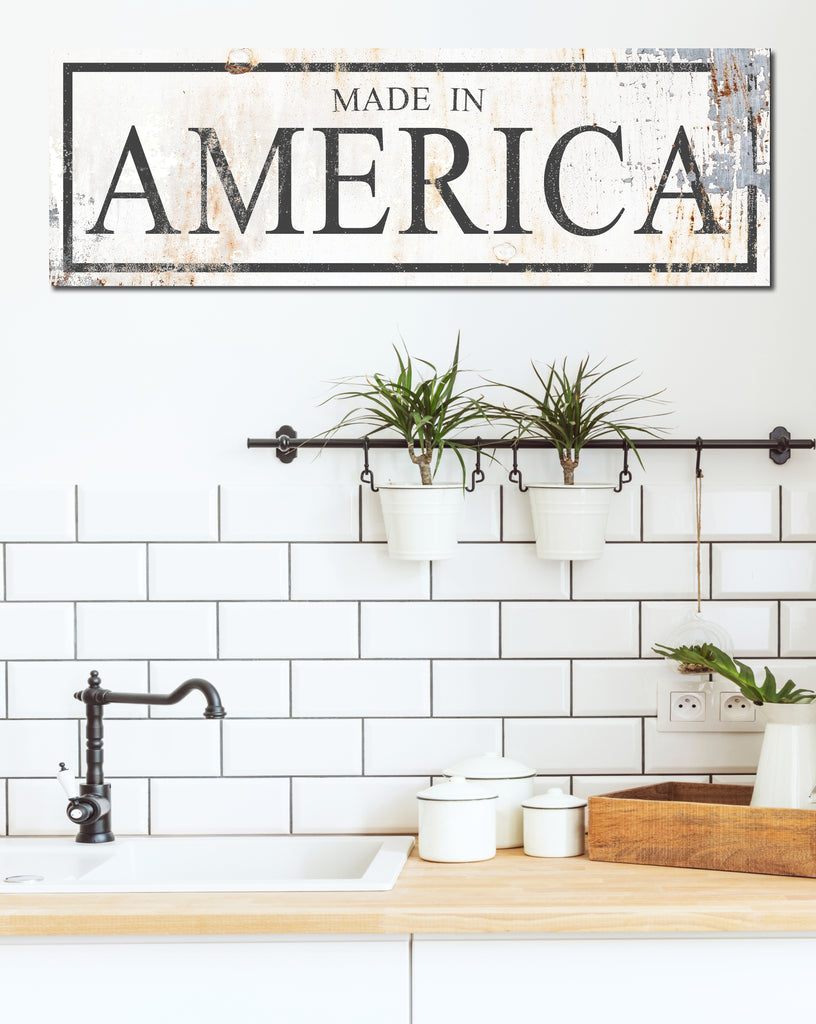 Made in America - White Vintage Farmhouse Canvas Art