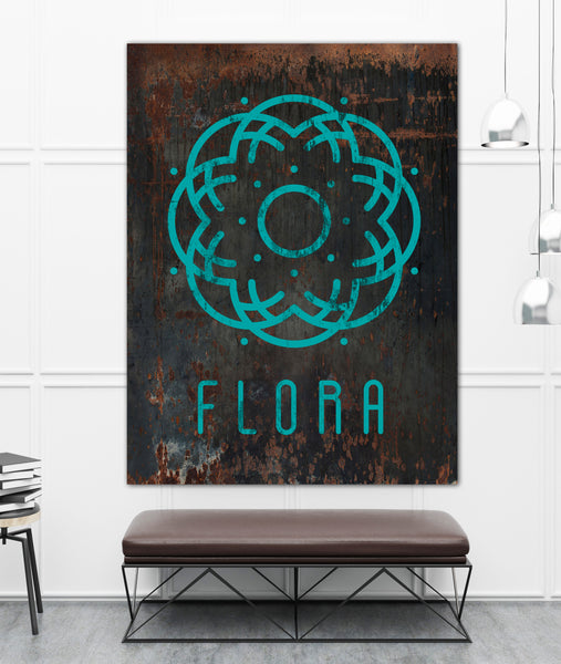 Distressed Black Metal Style Logo to Canvas Wall Art Print - LT4