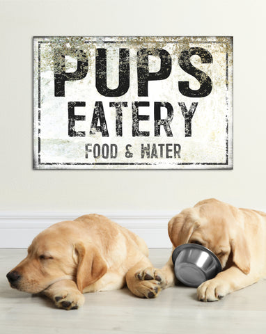 Pups Eatery Food and Water Farmhouse Decor Canvas Art