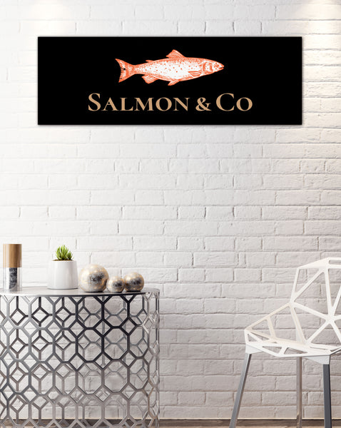 Long Solid Black Logo to Canvas Wall Art Print - LS28