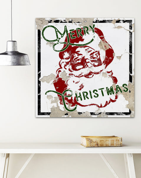 Vintage Santa Farmhouse Decor Christmas Canvas Print