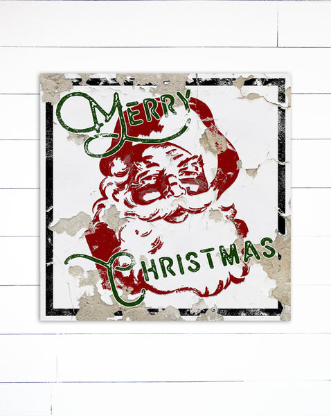 Merry Christmas Santa Sign Farmhouse Decor Canvas Art