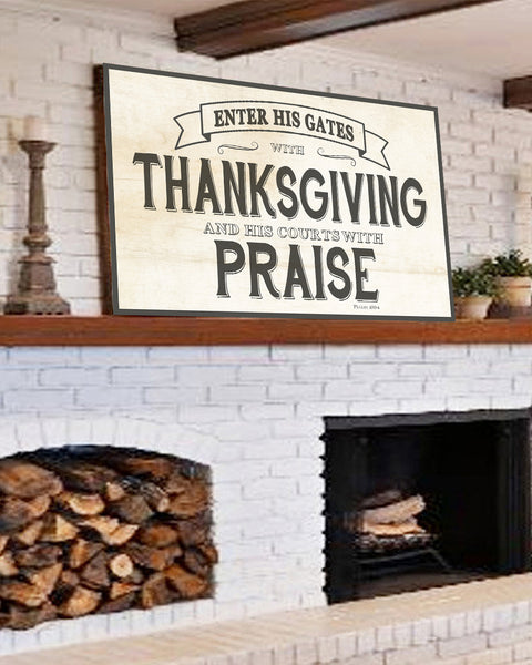 Thanksgiving and Praise Inspirational Canvas Wall Art