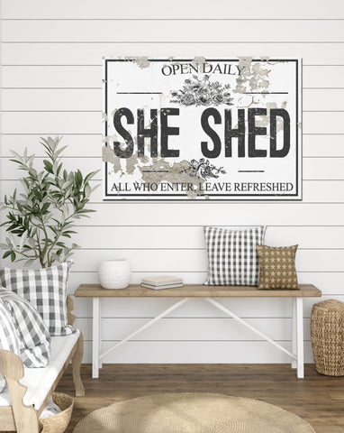 She Shed Chippy WHITE Canvas Wall Art - LC63