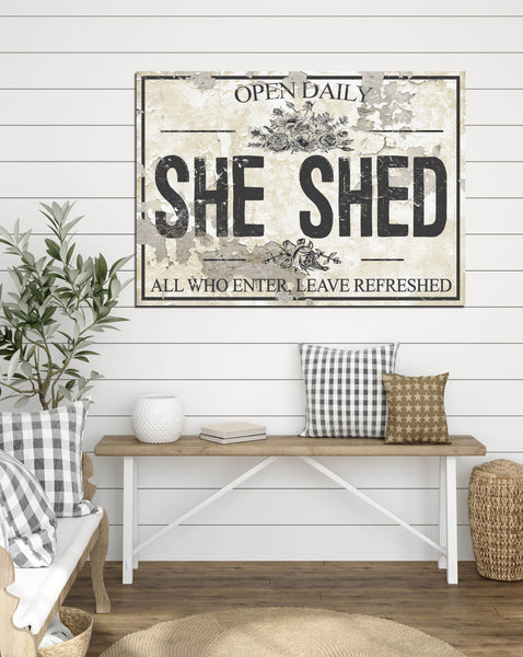 She Shed Chippy CREAM Canvas Wall Art - LC62