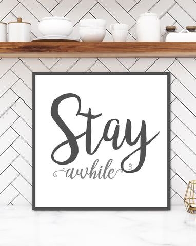 Stay Awhile Wall Sign - Rustic Wall Art Canvas