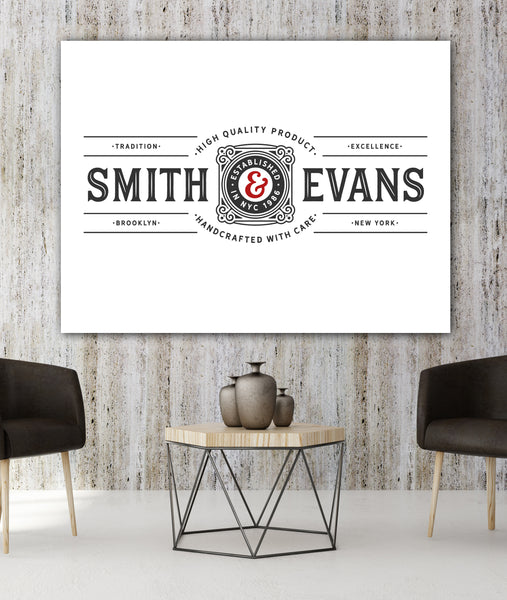 Solid White Custom Sign Business Logo to Canvas Wall Art - LT9
