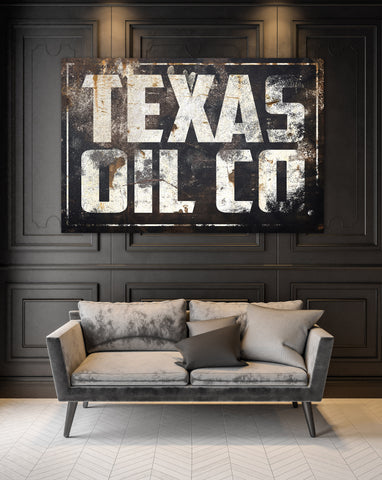 Texas Wall Art Vintage Signs Canvas Prints - Texas Oil Co.
