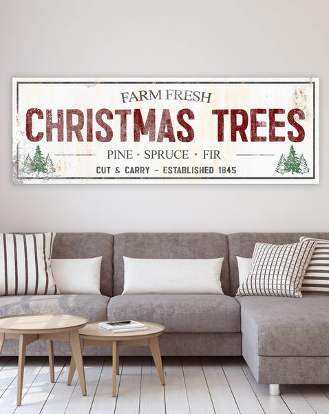 Farm Fresh Christmas Tree Sign  - Modern Farmhouse Christmas Tree Farm Sign