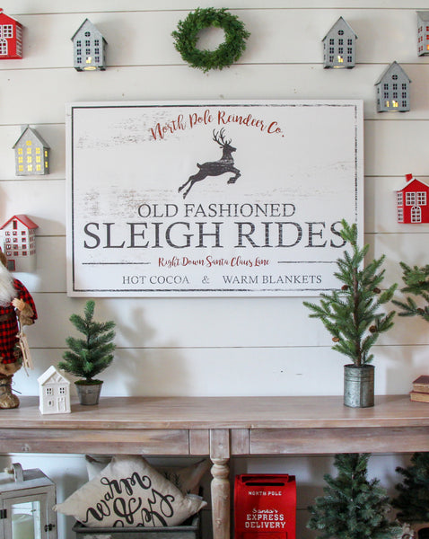 Sleigh Ride Farmhouse Christmas Sign - Vintage Reindeer Holiday Wall Art CANVAS