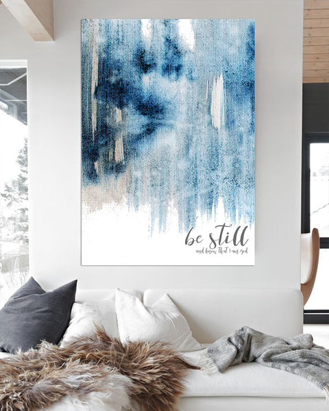 Be Still and Know Modern Farmhouse Art -  Blue Contemporary Wall Art