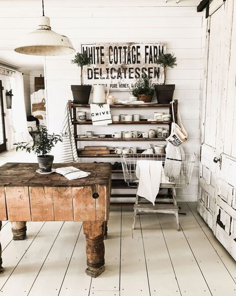 White Cottage Delicatessen Sign - Shabby Chic Cottage Sign - Farmhouse Sign