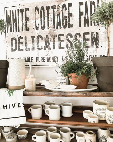 White Cottage Farm Sign - Farmhouse Decor Wall Art Canvas Print Vintage Sign