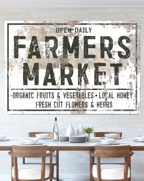 WHITE Chippy Farmers Market Farmhouse Wall Art Canvas Print
