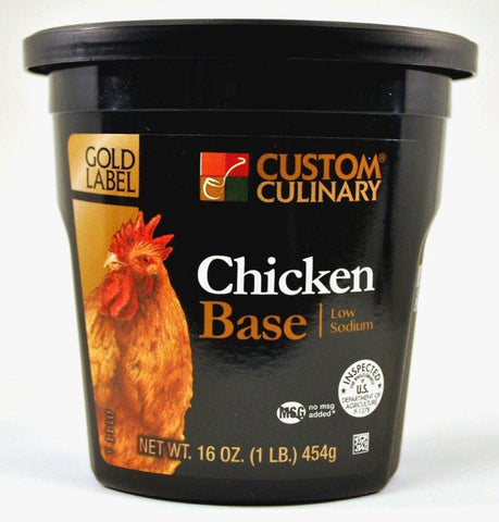 Custom Culinary Gold Label Low Sodium Chicken Base - 1 lb. Jar
