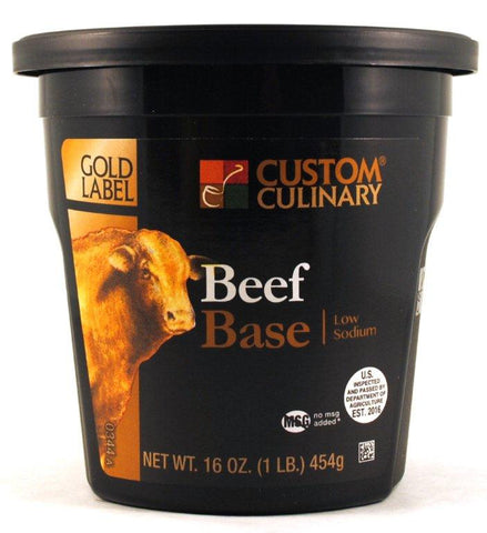Custom Culinary Beef Base Low Sodium - 1 lb. Jar