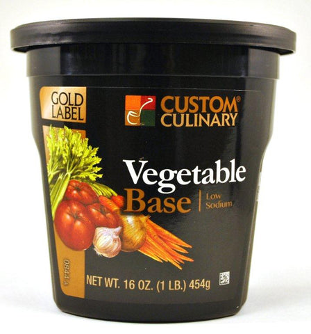Custom Culinary Gold Label Low Sodium Vegetable Base - 1 lb. Jar