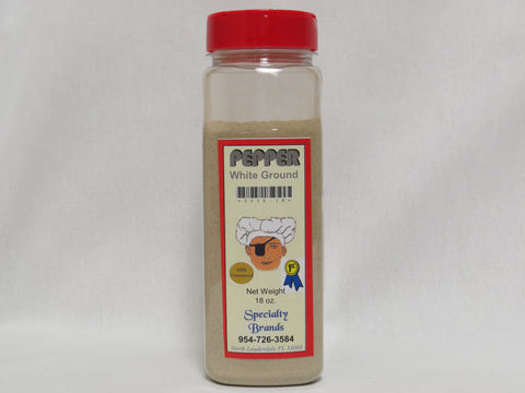 Specialty Brands Pepper White Ground- 18 oz. Jar (#3036-18)