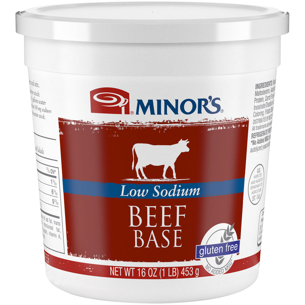 Minor's Beef Base Low Sodium No Added MSG - 1 lb. Cup (#332-06)