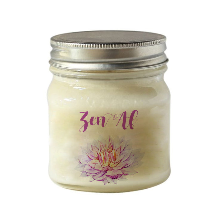 Zen AF  - Hand poured Soy Candle - Coconut Lime Verbena Scent - 8 oz Mason Jar