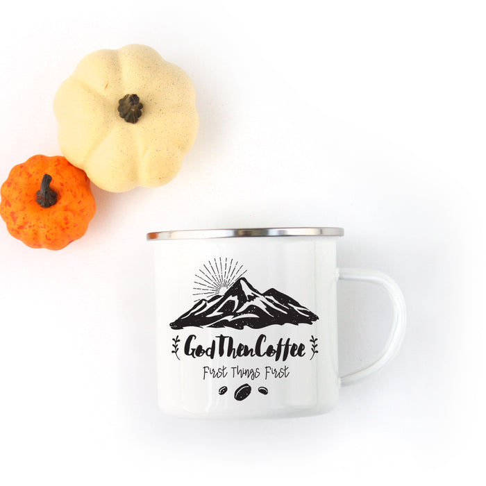 Signature God Then Coffee - Classic Enamel Camping Mug