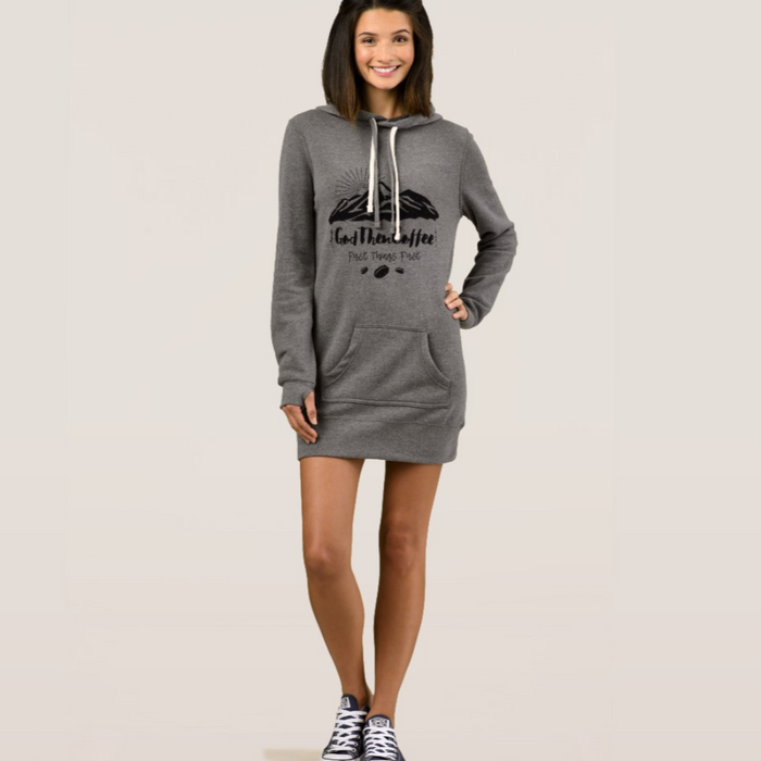 God Then Coffee Hoodie Dress