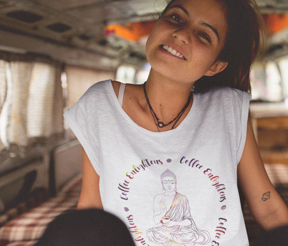 Coffee Enlightens (Buddha) Women's Slouchy Boyfriend Tee
