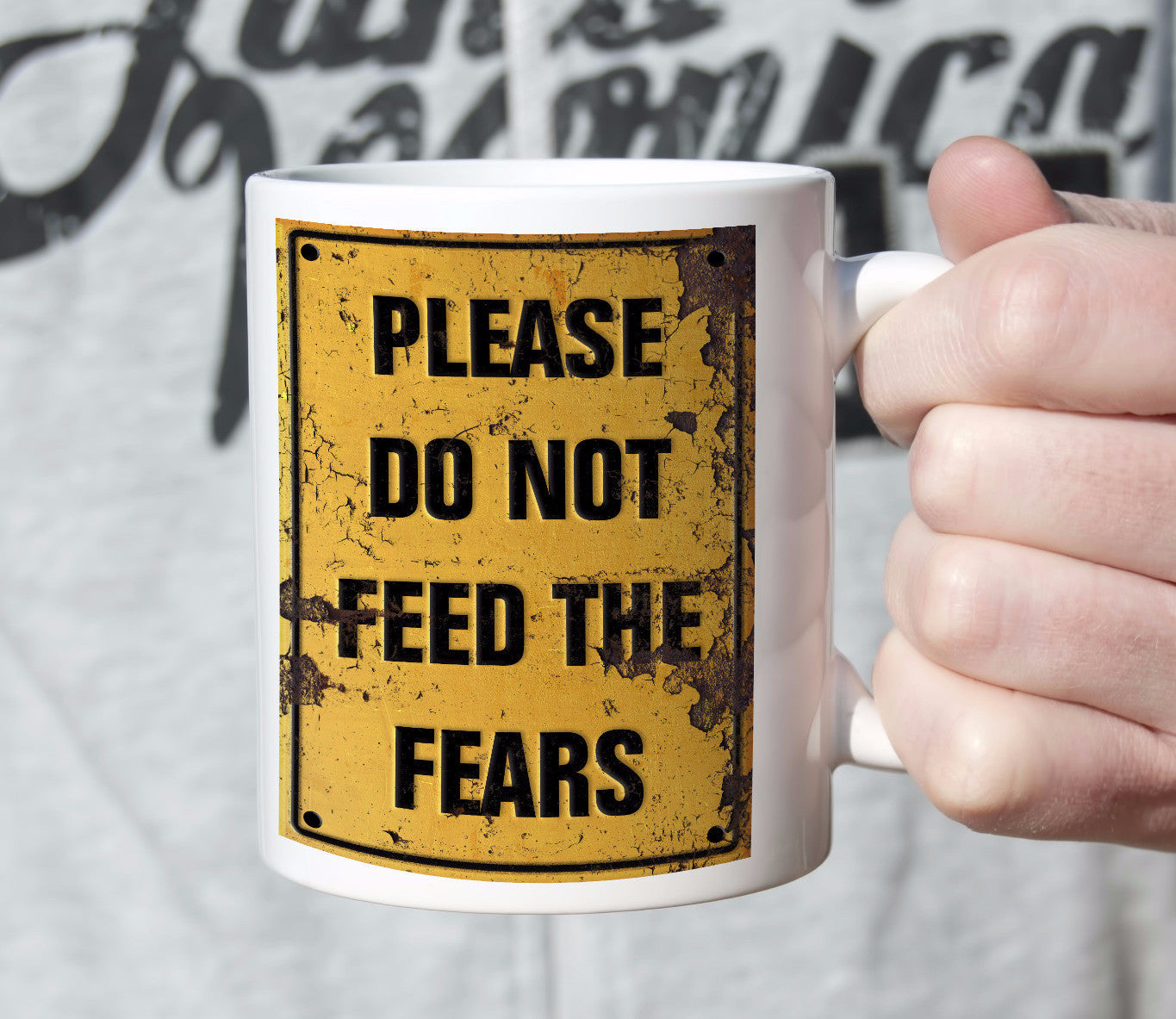 Coffee mug, please do not feed