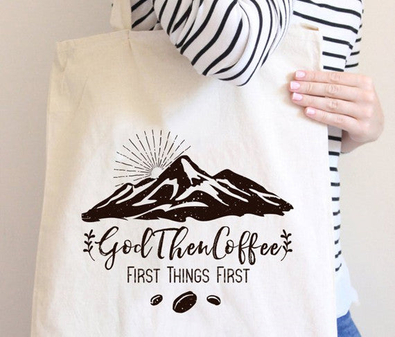 God and Coffee Signature Canvas Tote Bag - God Then Coffee