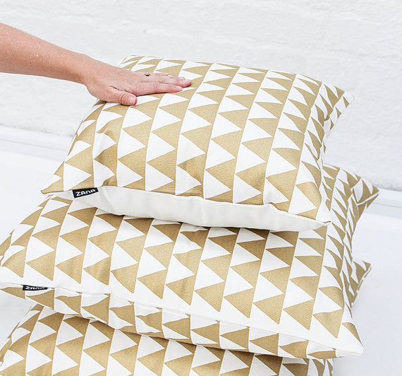 Gold Triangle Throw Cushion Cover - God Then Coffee