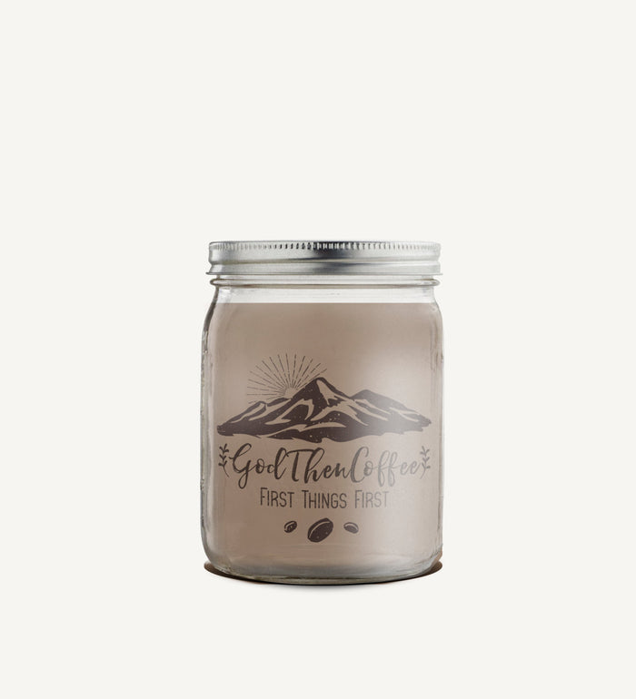 God Then Coffee - Hand poured Soy Candle - Coffee Scented - 16 oz Mason Jar - God Then Coffee