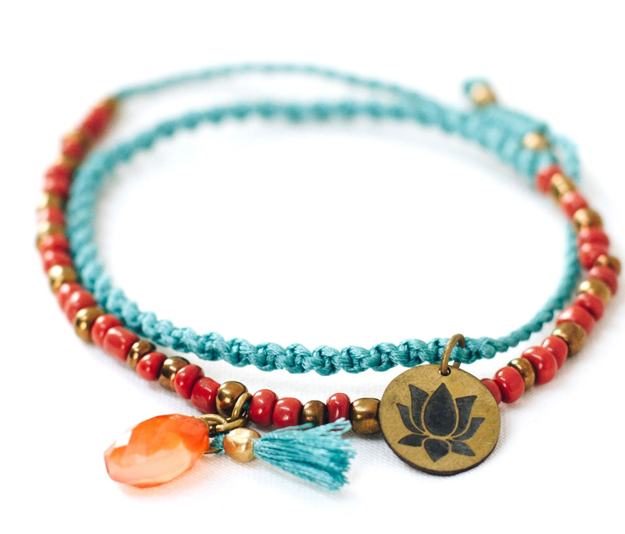 Tassel & Stone Charm Silk Bracelet - God Then Coffee