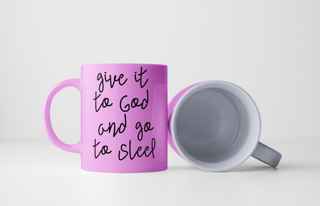 give it to God coffee cup pink