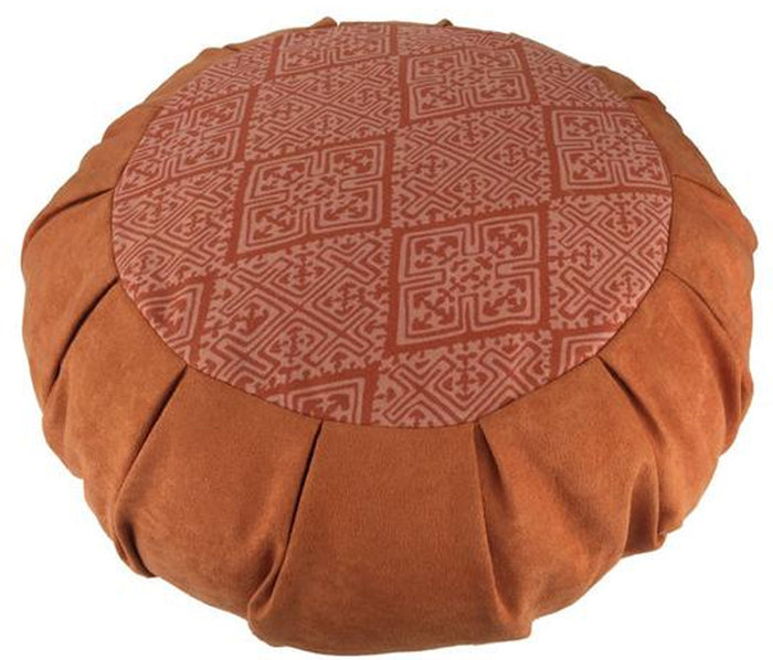 Zafu cushion in faux suede, Tribal Block print Meditation Cushion - God Then Coffee