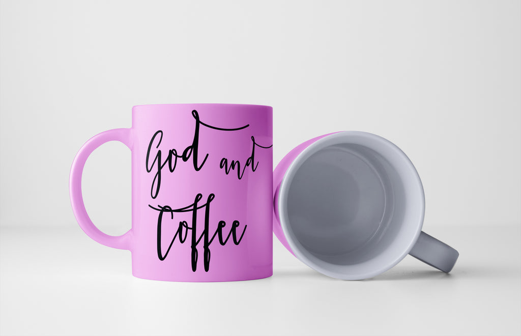 pink coffee mug - God and Coffee