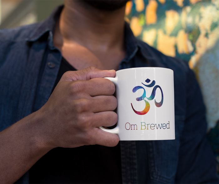 Om brewed designed coffee cup